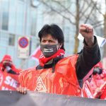 Streikende aus dem Werk Hanau-Großauheim von ABB-Hitachi zum Aktionsbesuch vor der Konzernzentrale in Zürich