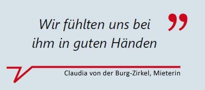 """Claudia von der Burg-Zirkel, Mieterin: """"Wir fühlten uns bei ihm in guten Händen."""""""